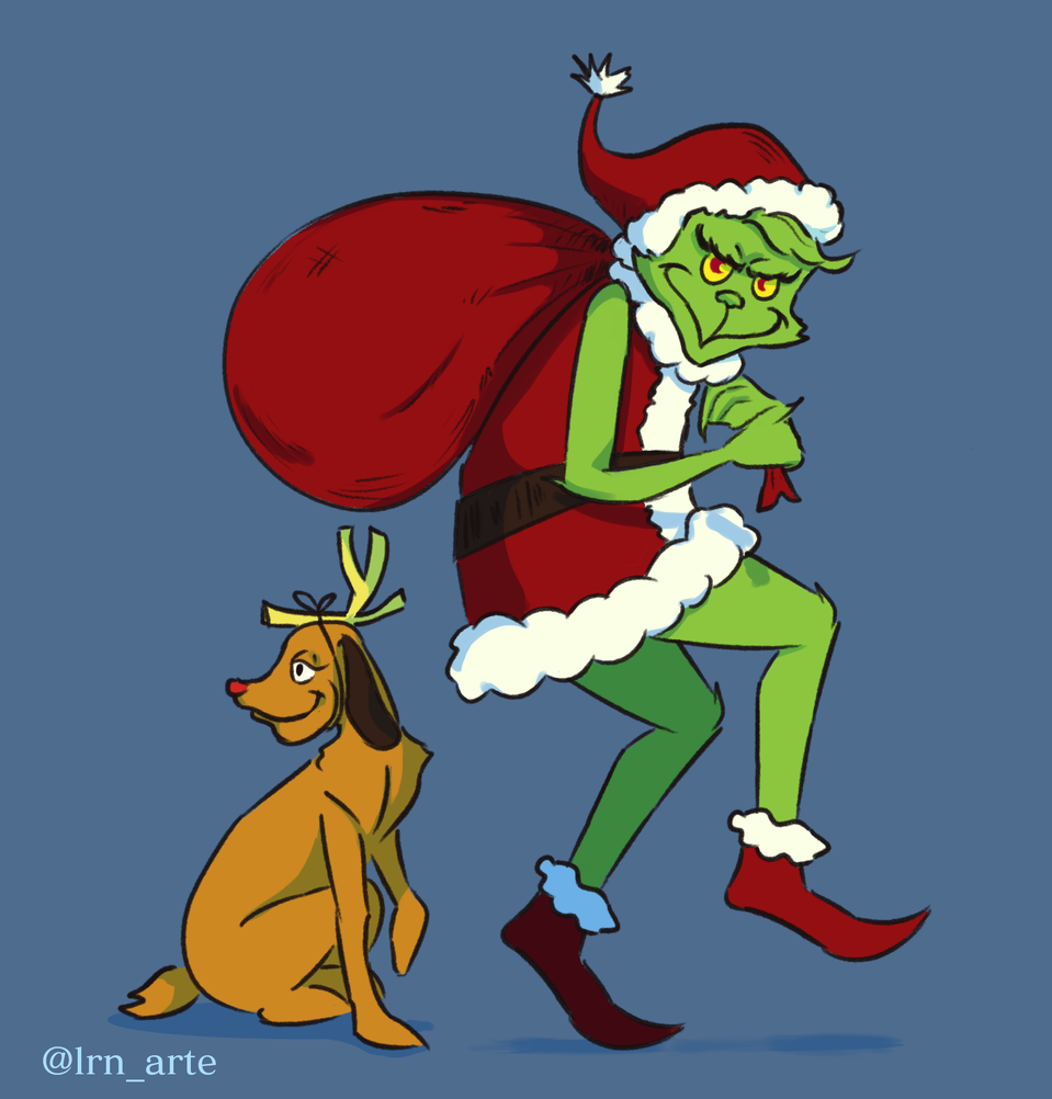 Grinch Illust of lrnart97 December2020_Contest:Santa colorful dog celebration cute grinch