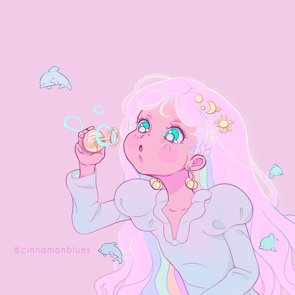 Melody blowing bubbles Illust of laurita.rpg blueeyes cute fantasya bubbles pinkhair animegirl unicornhair playful littlegirl