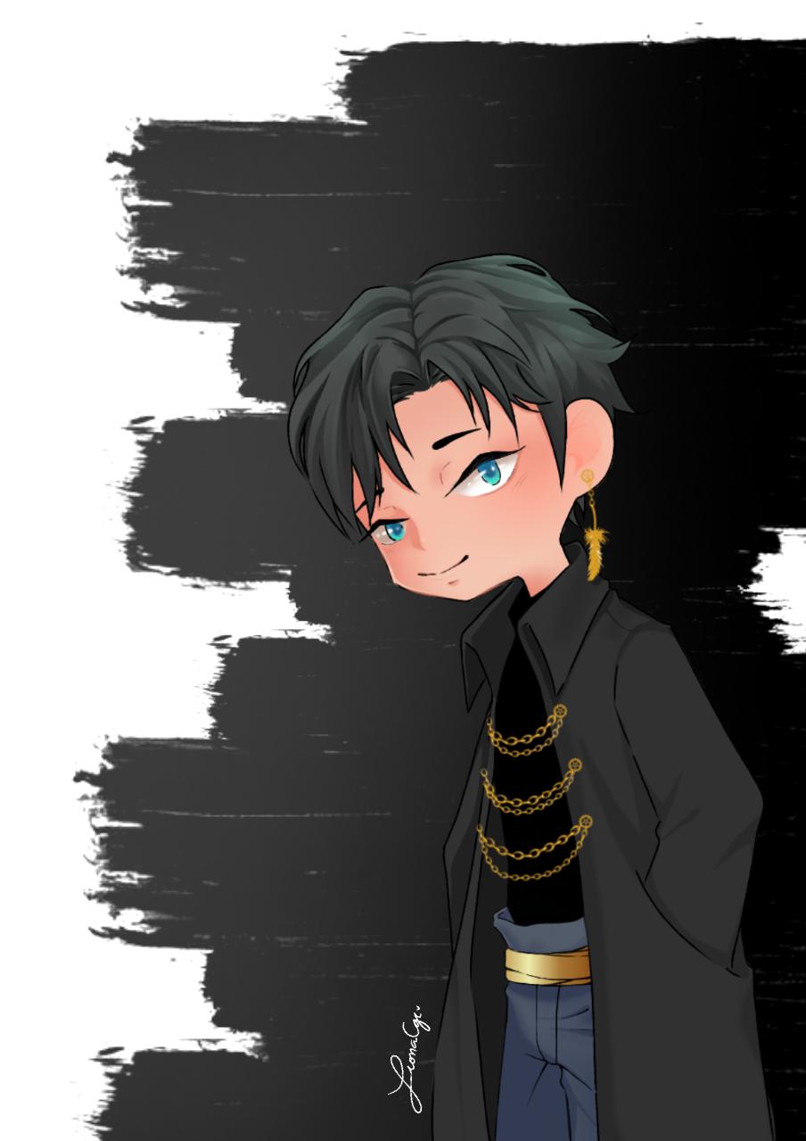 Leo Illust of ceriseblossom eyes anime animeart blue oc original illustration animeboy dress chibi