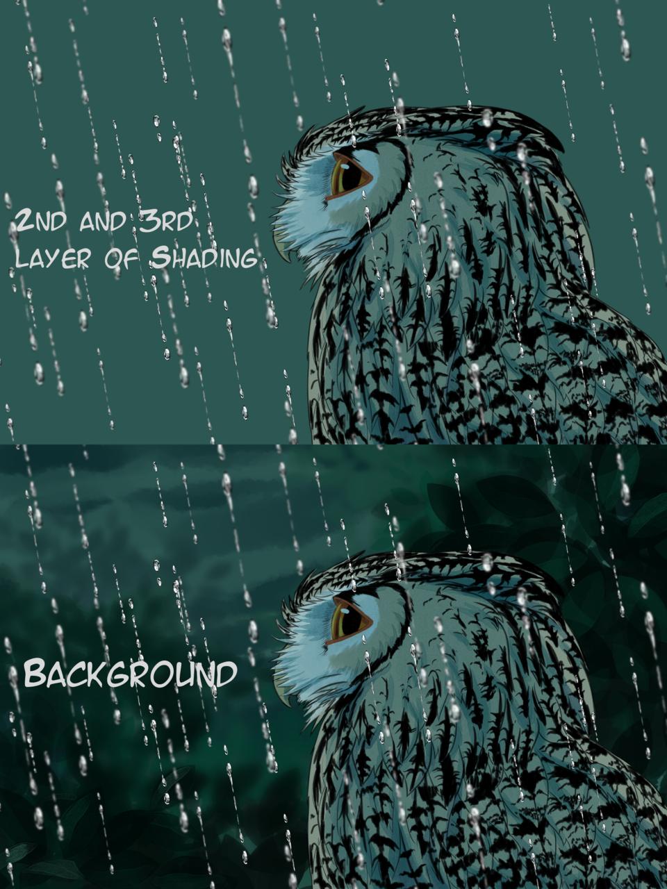 Rain Soaked Illust of Vanzkie Post_Multiple_Images_Contest night PhilippineScopsOwl painting process owl oc illustration rainy rain