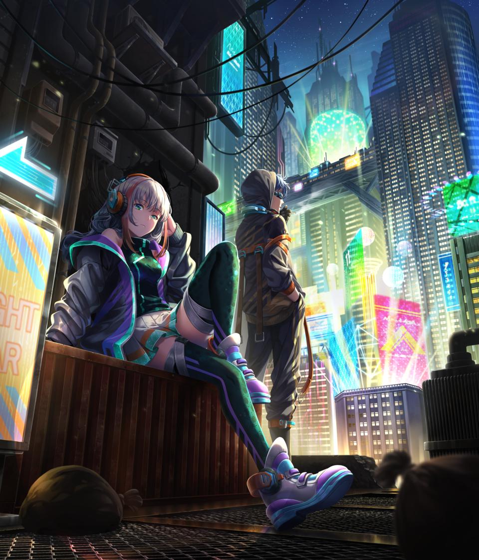 路地裏 Illust of 栗助 November2020_Contest:Cyberpunk