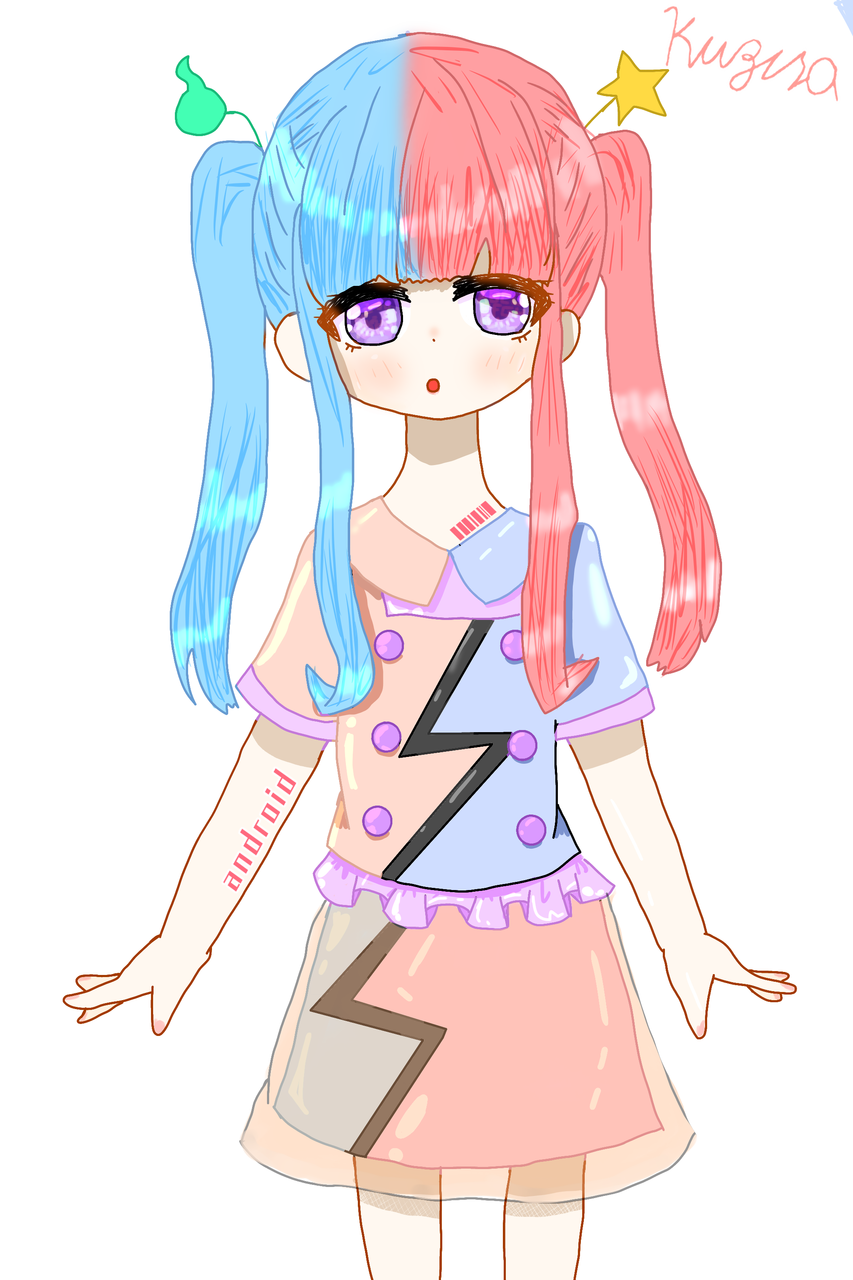 Android Illust of 冬路くじら android twin_ponytails kawaii pink sky girl cool medibangpaint illustration blue
