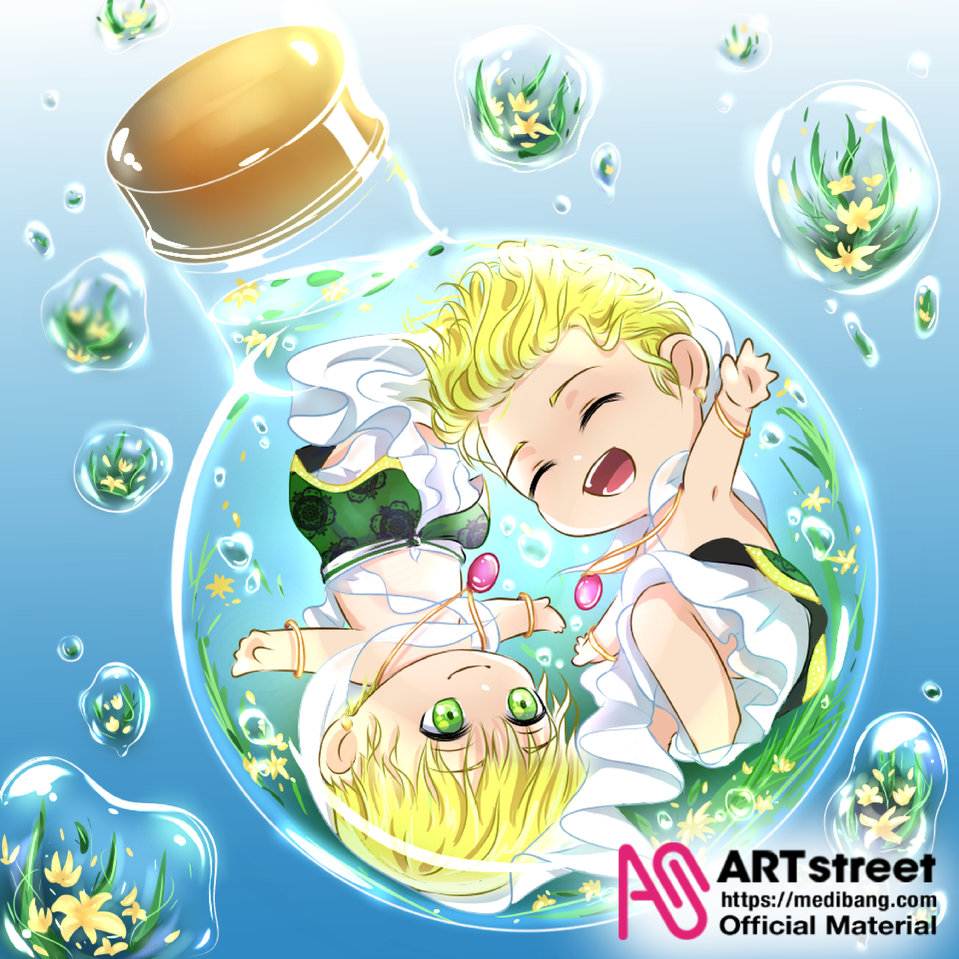 In the Bulb Illust of Ladekpoh tracedrawing4th Trace&Draw【Official】 friendship chibi chibiboy boys brothers cute bubbles water