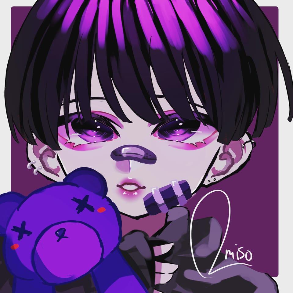 病み🥺 Illust of おみそ@だいぶ新規絵出した illustration おみそのお絵かき広場 impasto kawaii boy pink CLIPSTUDIOPAINT purple oc 病み