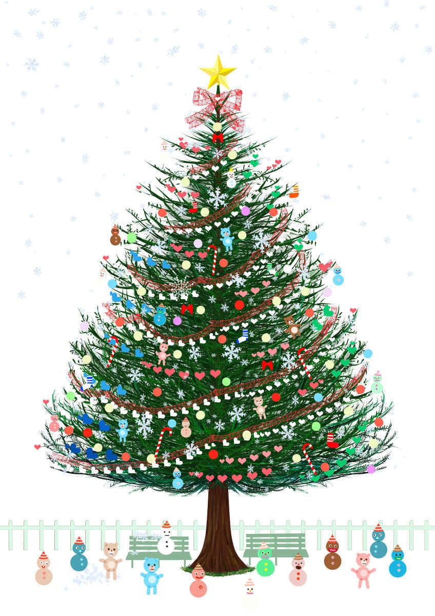 クリスマスツリー2 Illust of beach st star ハート テディーベア 雪だるま Christmas クリスマスツリー