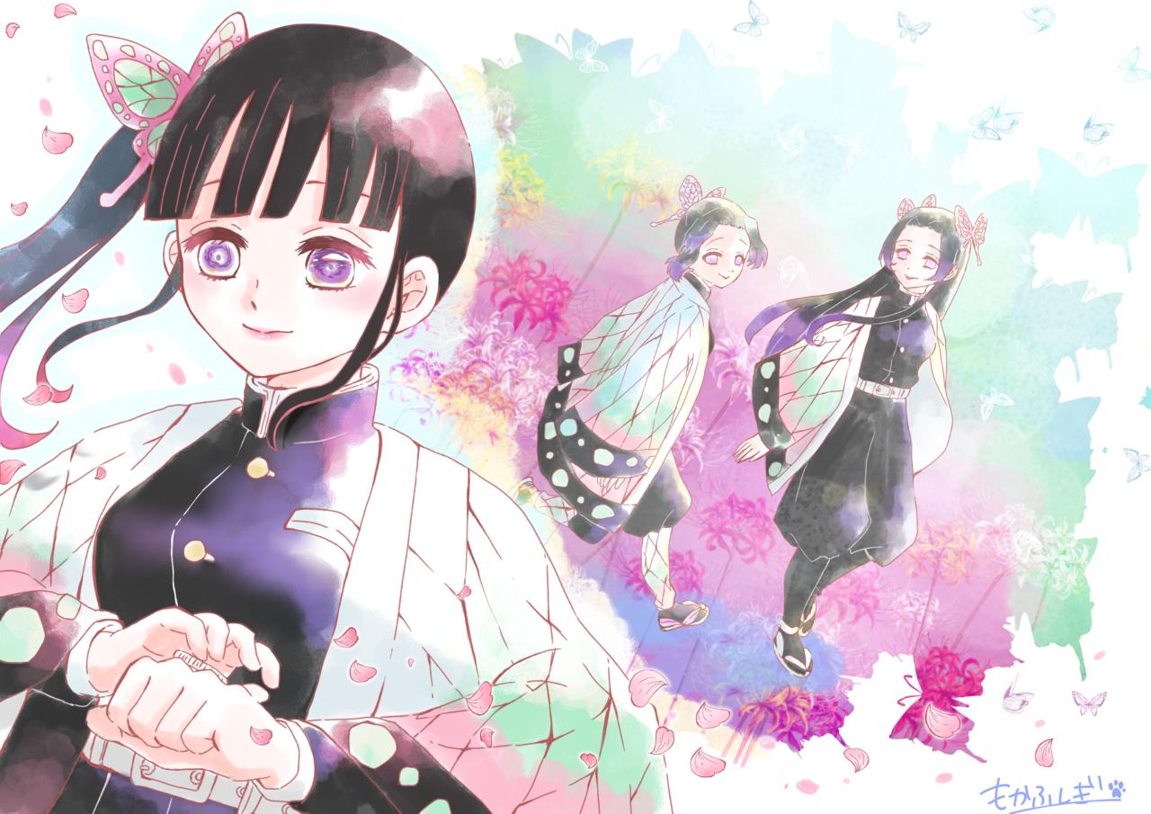 よく頑張ったね カナヲ Illust of もかふしぎ DemonSlayerFanartContest KochoKanae KimetsunoYaiba 蟲柱 KochouShinobu TsuyuriKanao