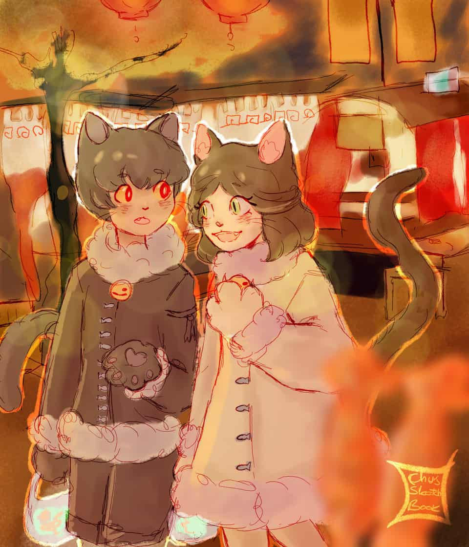 'Lets eat some meat tonight :3' Illust of Chussketchbook DOGvsCAT_CAT cat kitty