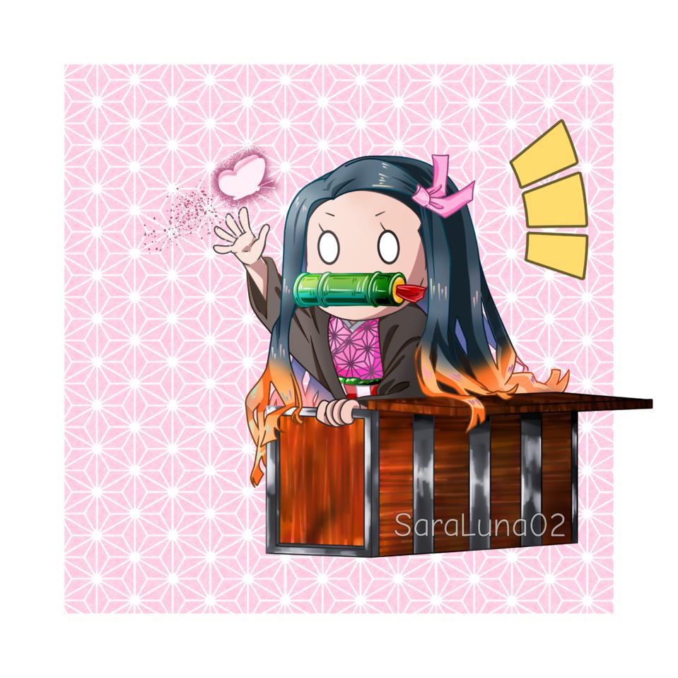 Small Nezuko Illust of SaraLuna02 DemonSlayerFanartContest pink girl KamadoNezuko manga art fanart KimetsunoYaiba anime