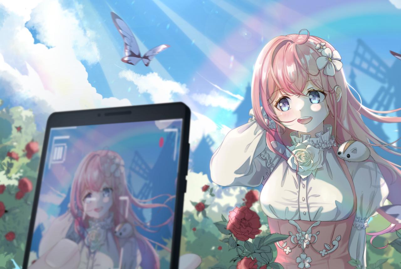 rose garden Illust of Aquaz.N romance ART_street_Illustration_Book_Contest rose girl Valentine pinkhair summer spring oc