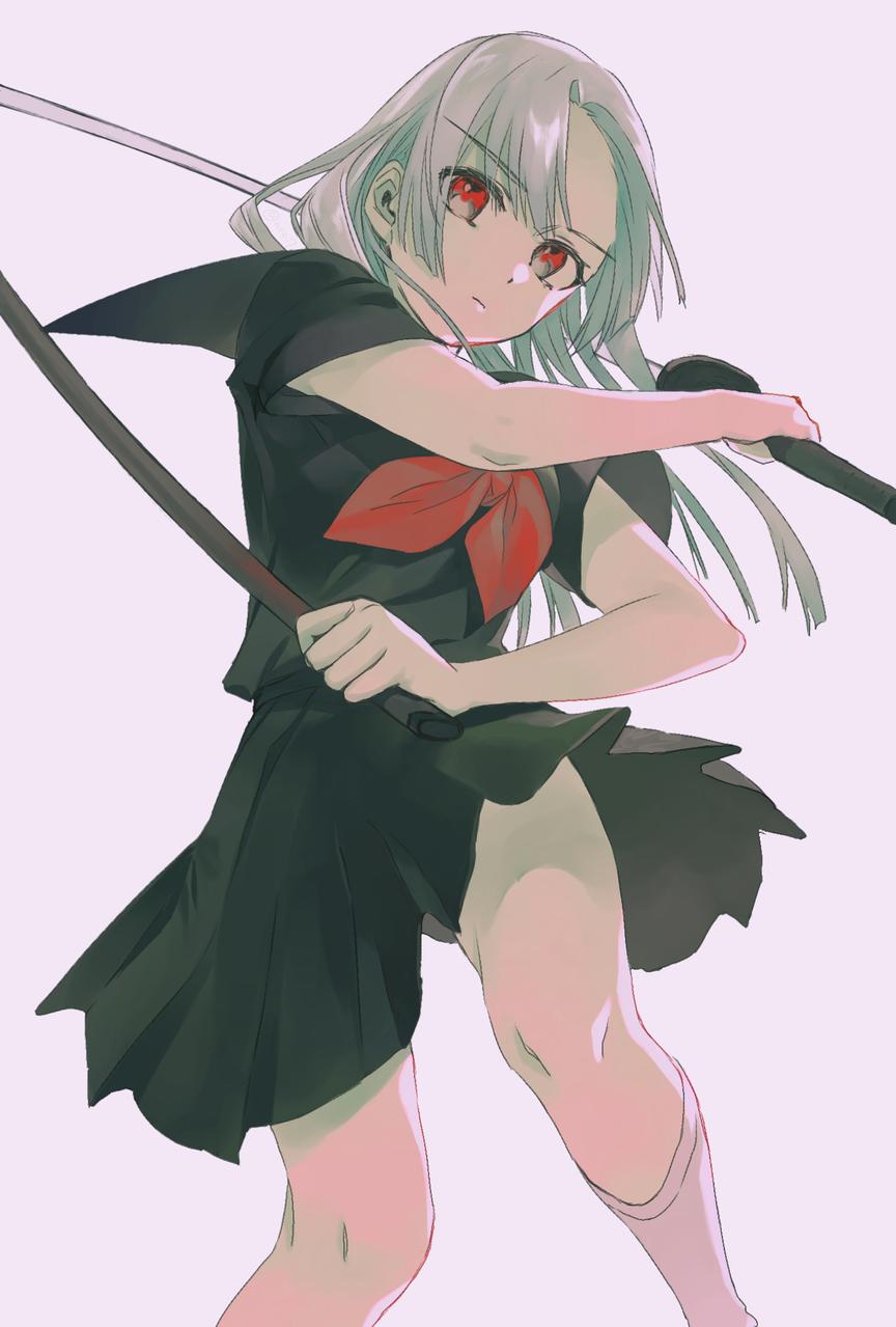 日本刀 Illust of ありおか uniform 日本刀 武器娘 original 赤目 sailor_uniform