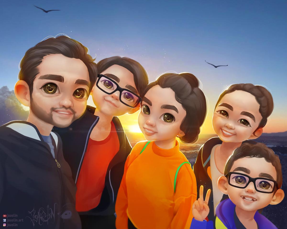 Family portait Illust of JoAsLiN art Family girl eyes boy cute illustration sunset oc digital