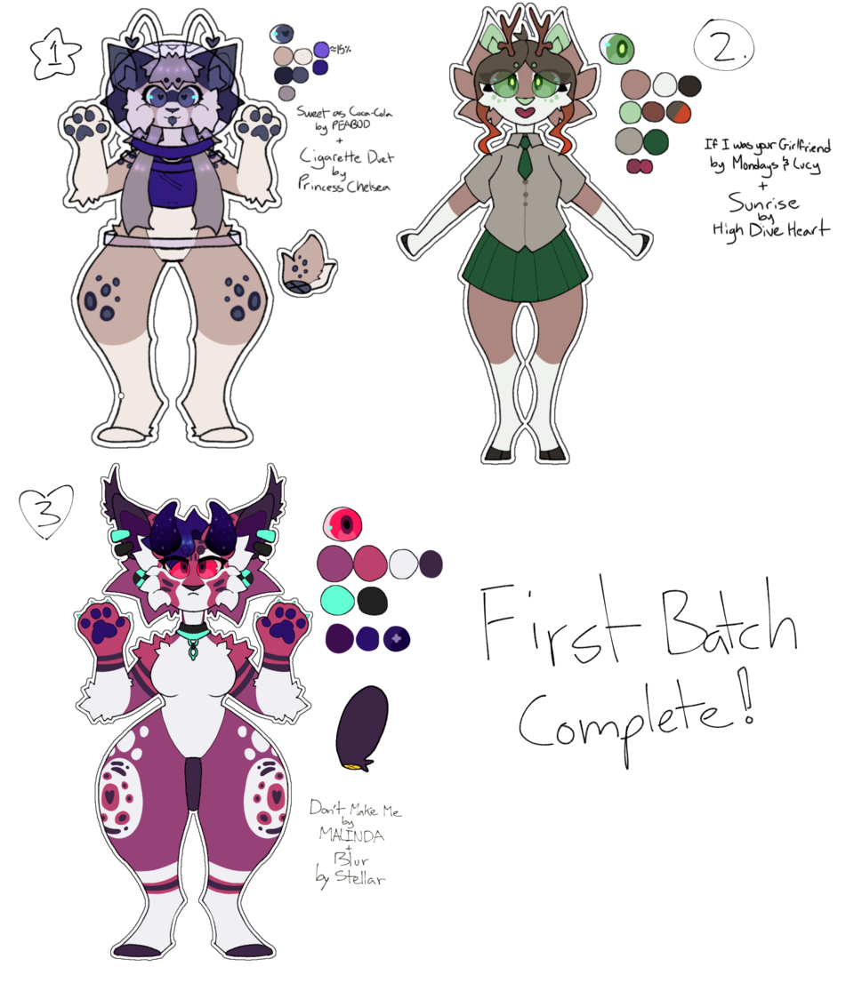 first batch of adopts finished! [closed](desc pls) Illust of 💚beans💙 adopt