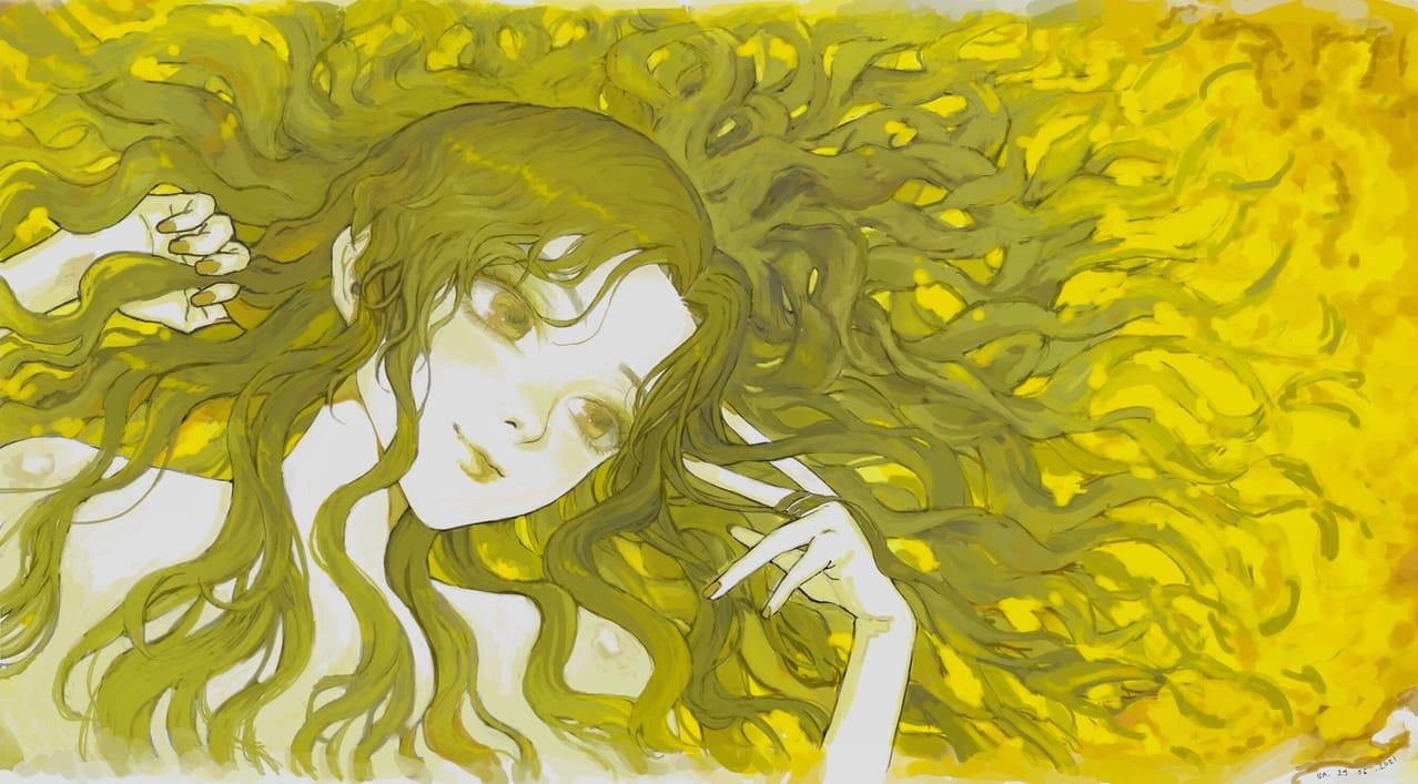 Mysterious yellow Illust of TingTongTuan May2021_Monochrome yellow girl manga