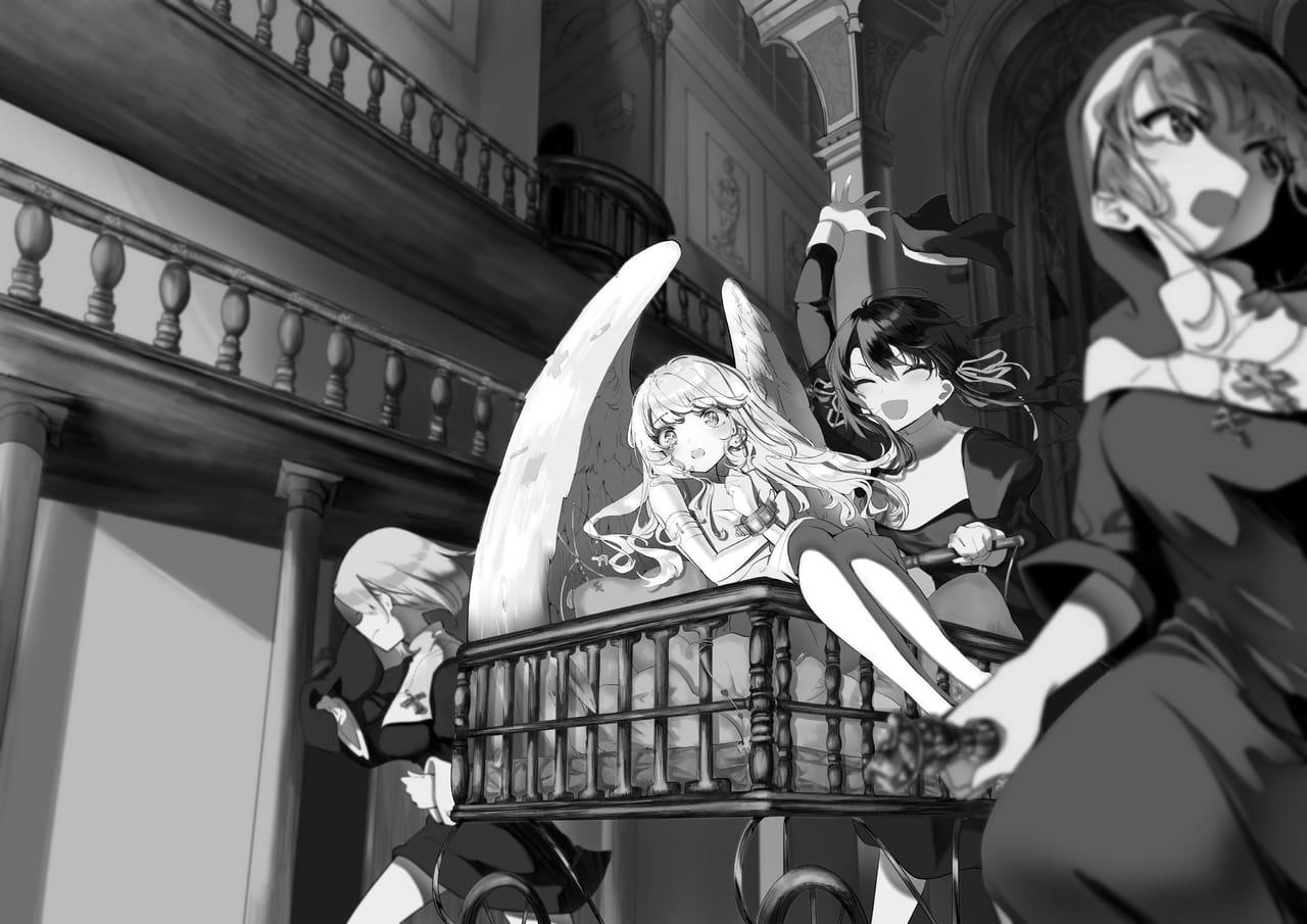 電撃イラスト2次通過作品 Illust of ひえのひろ ライトノベル angel シスター background ラノベ girl monochrome oc