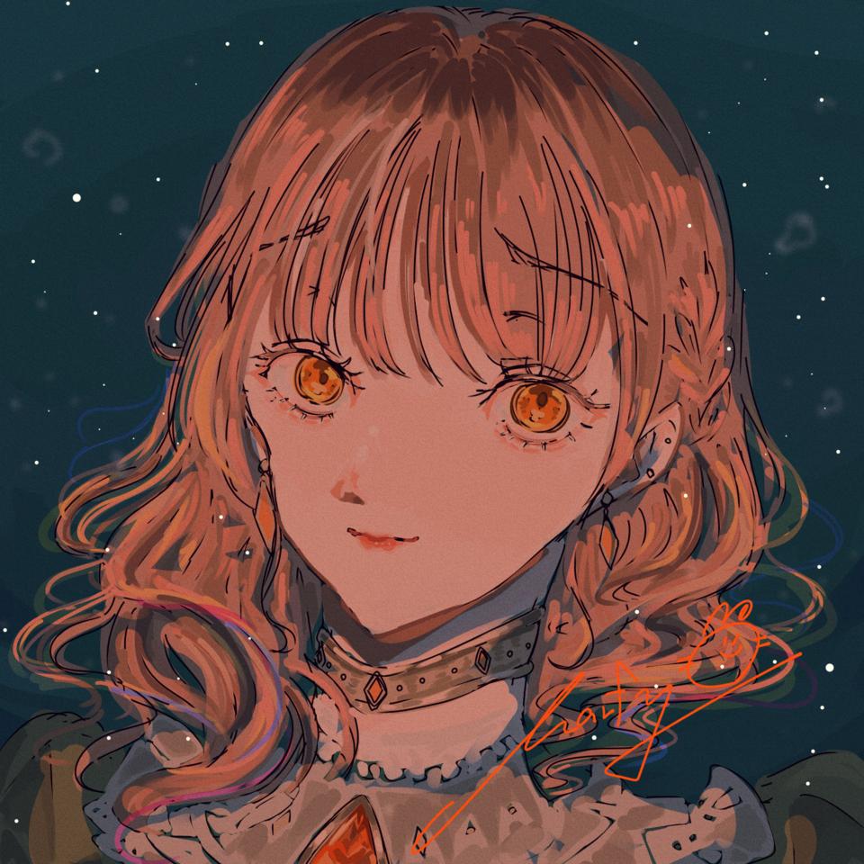 Orange Illust of Marfy impasto メルヘン kawaii オレンジ girl きらきら portrait