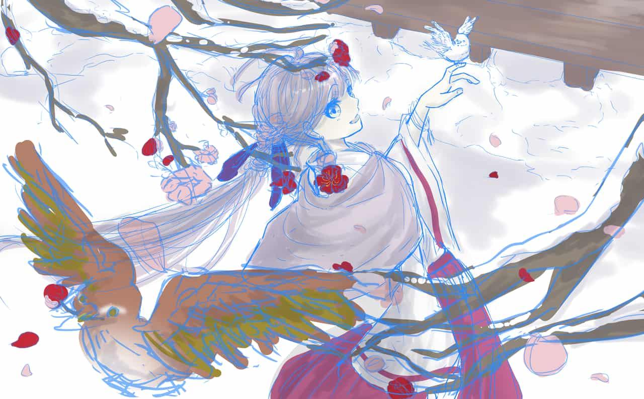 季節外れの梅の花と雪 Illust of 花鳥 鶯 girl 梅の花 original ラフイラスト
