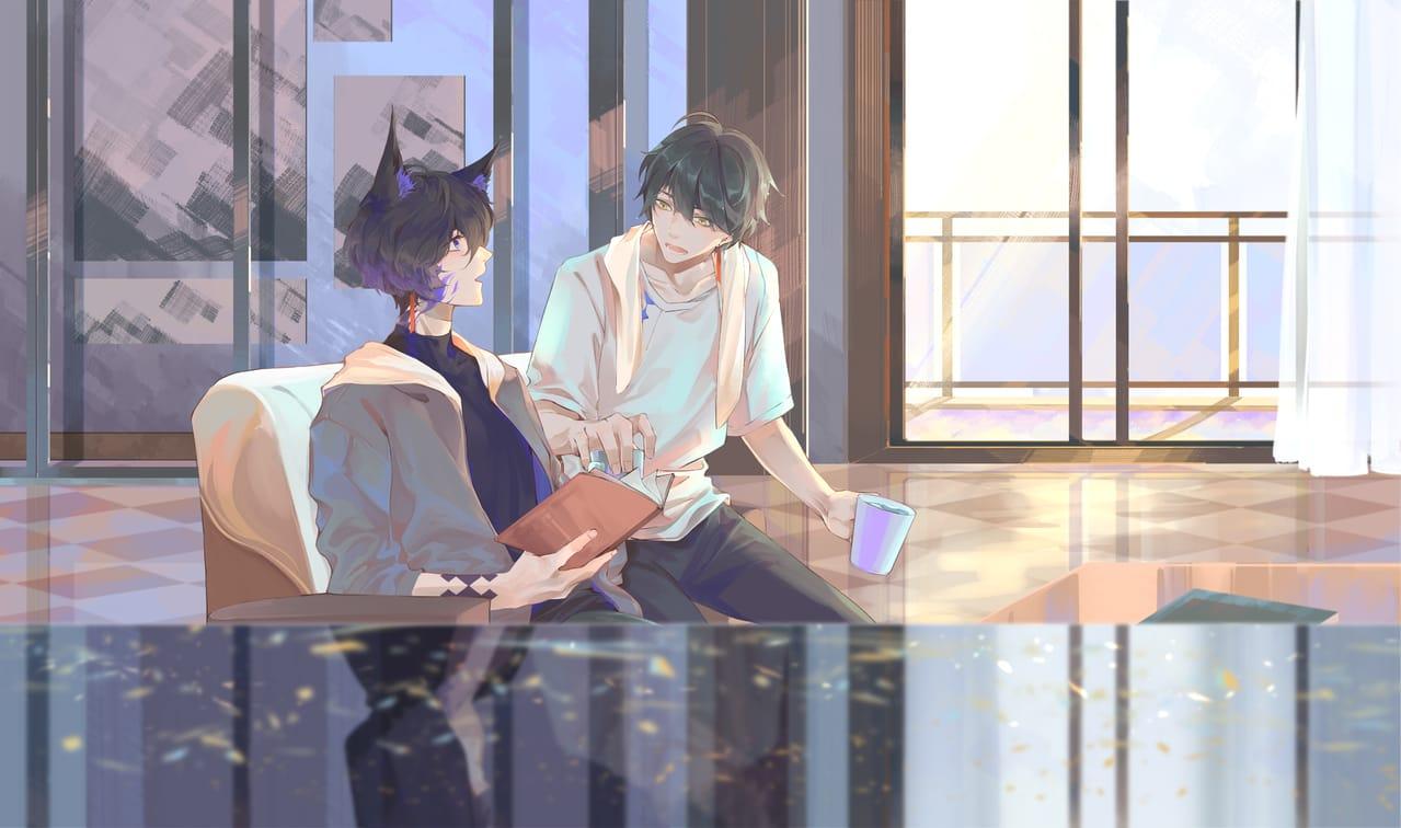 伊萨克的生日 Illust of 渊目-ritsu boy drawing 伊萨克 永远的7日之都 birthday illustration izakku eternalcity 永远的七日之都