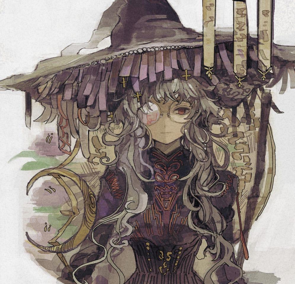 Illust of nyannsaka glasses witch original girl 銀髪