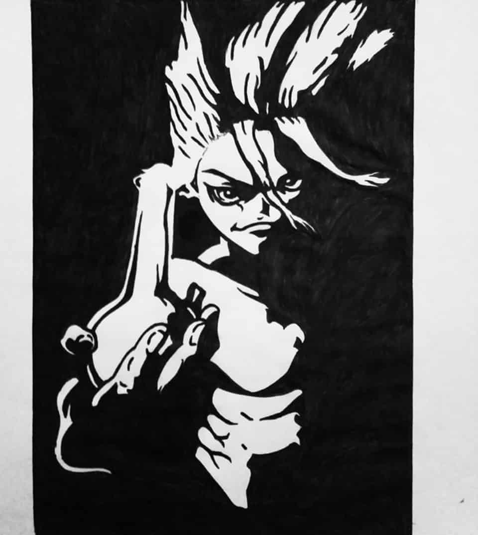 Dr stone Illust of brave john anime sketch Dr.STONE black medibangpaint line_art artstreetmedibang artstreet white
