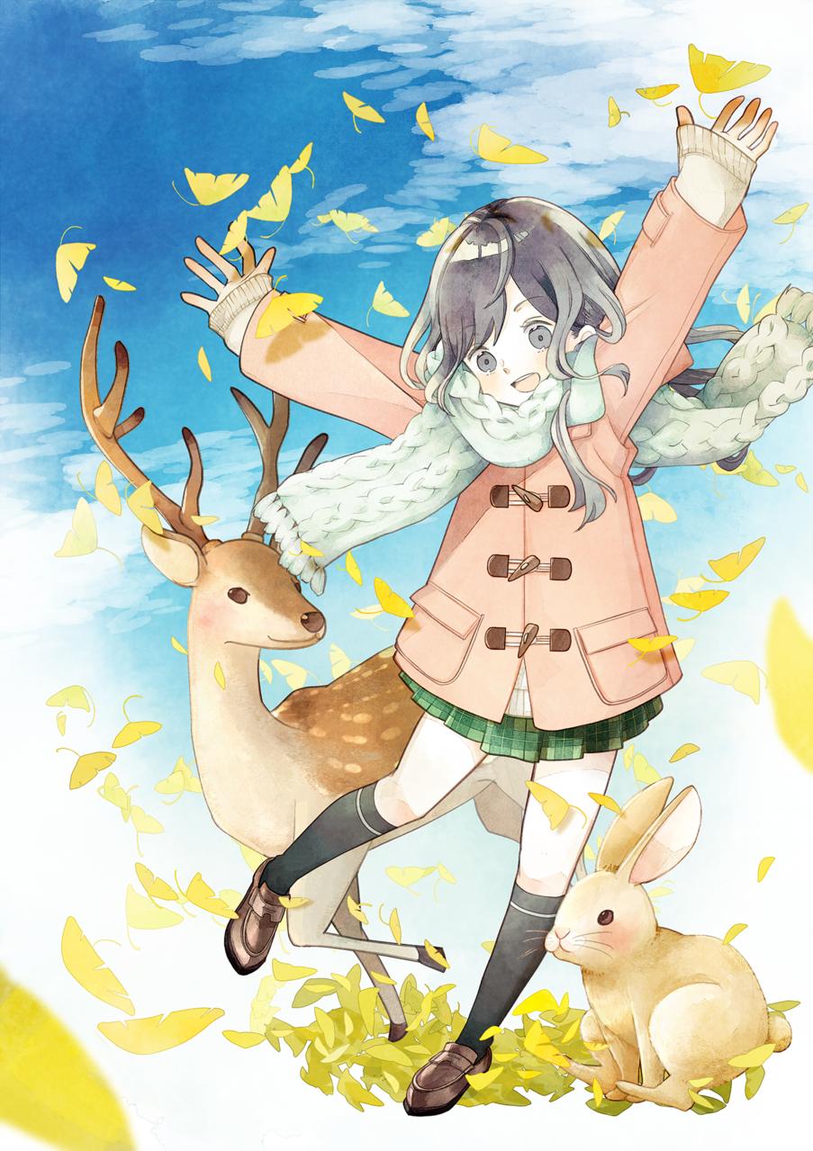 第174回イラストテクニック Illust of ちろりるら rabbit 講座 水彩塗り 鹿 girl autumn