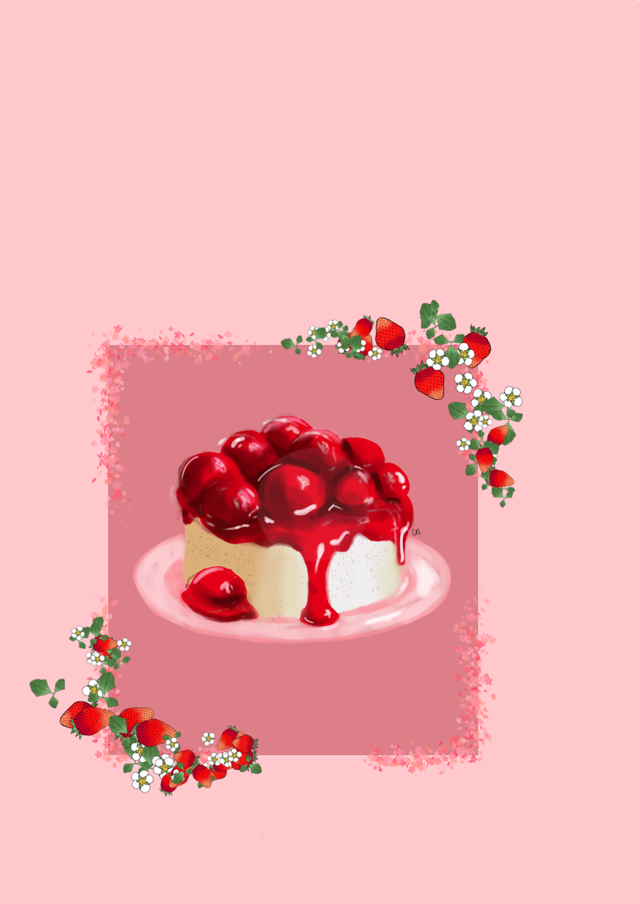 I love cheesecake Illust of ☆°•chloe•°☆ medibangpaint anime animeart food cute strawberry cake