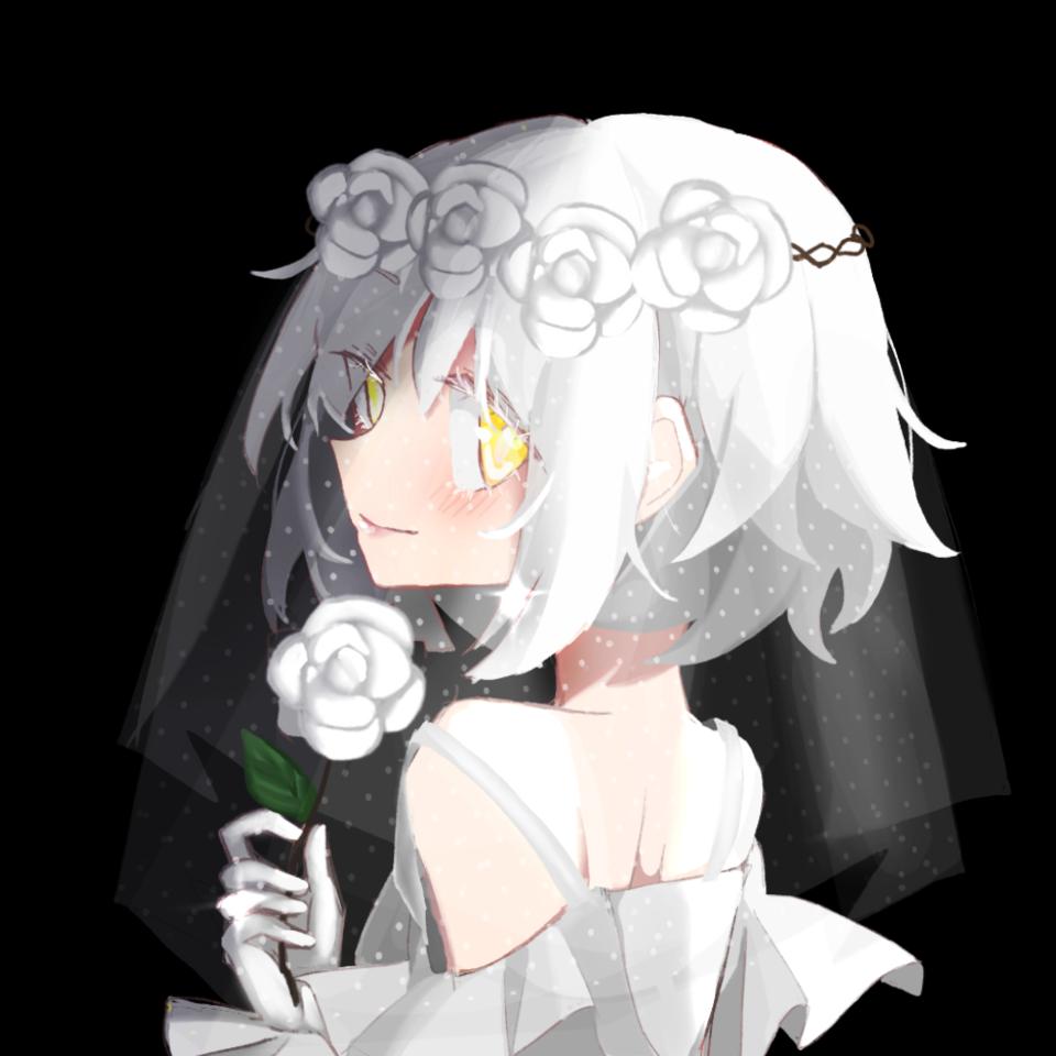 white rose Illust of Pomelo June2021_Anthropomorphism black yellow shorthair flower white roses