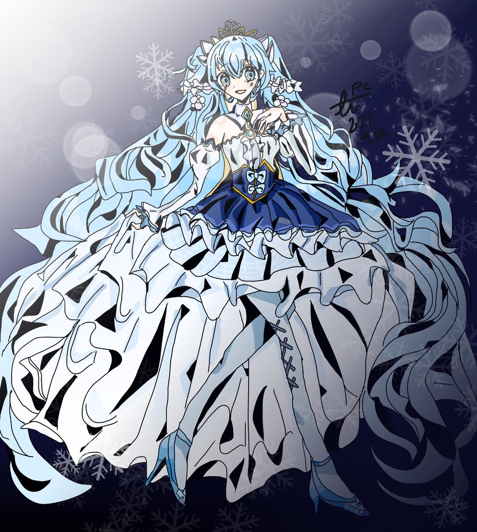유키미쿠 2019 Illust of 플시 medibangpaint snow_miku hatsunemiku 유키미쿠 snow princess VOCALOID snowmiku miku dress