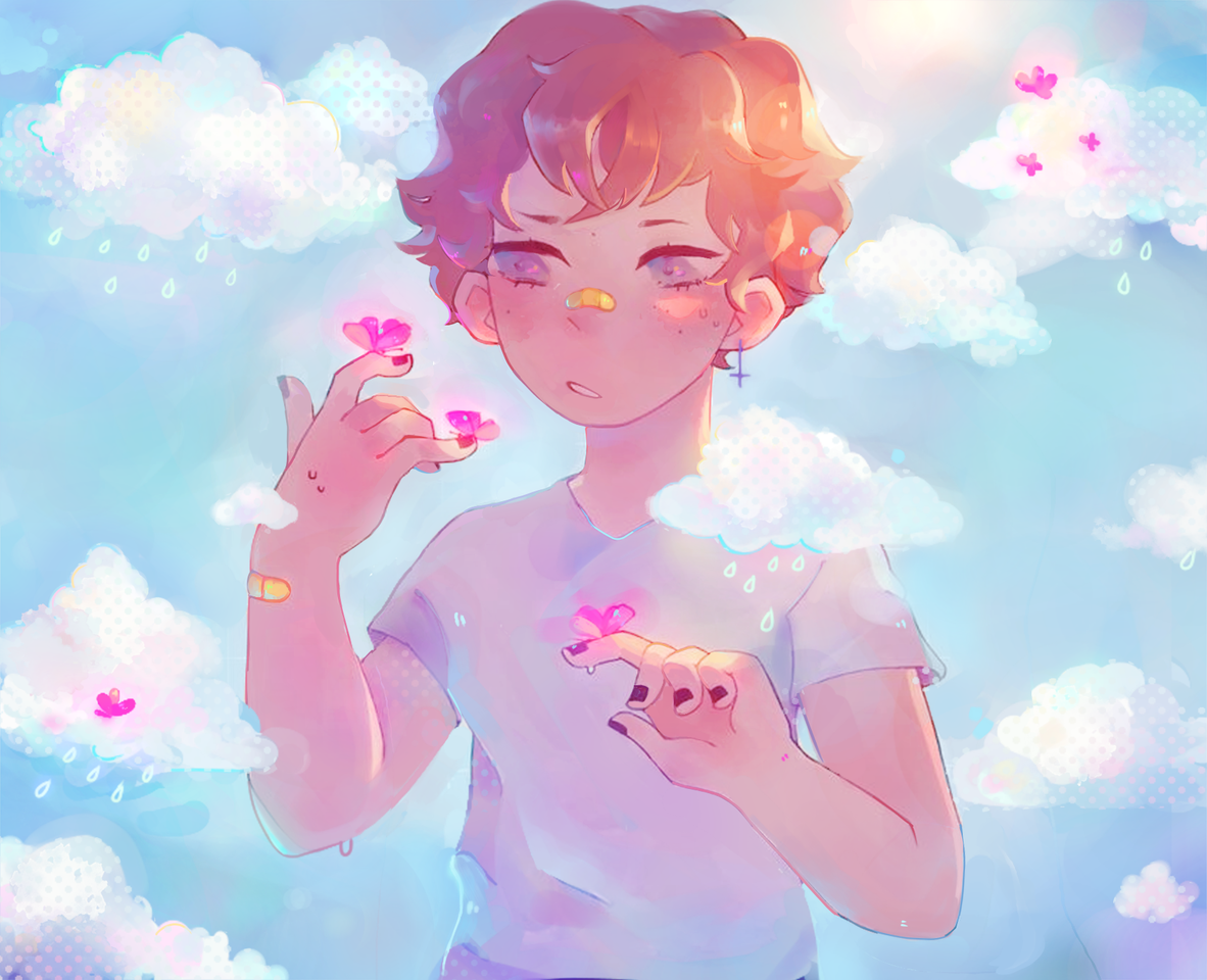 i fixed it, because it made me mad :) Illust of h o ɳ e y d e w ☻︎ sunshine butterfly aesthetic clouds