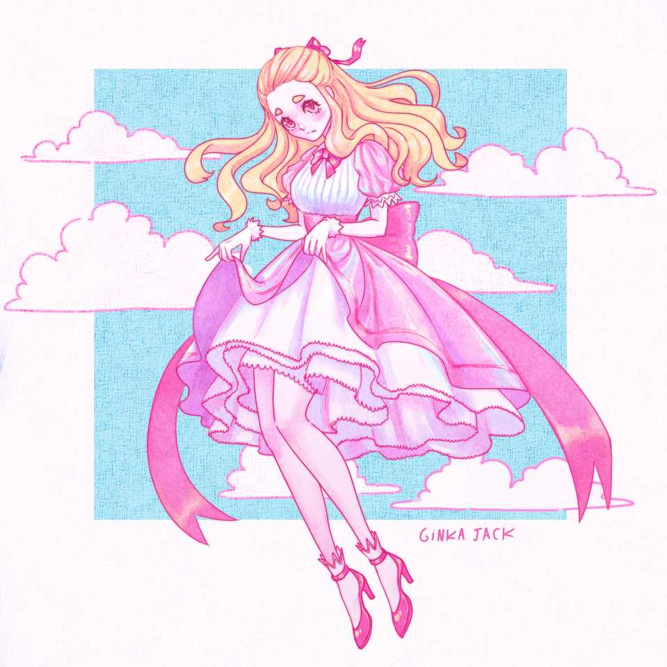 Princess Illust of Ginka-jack anime girl color cute pink dress princess