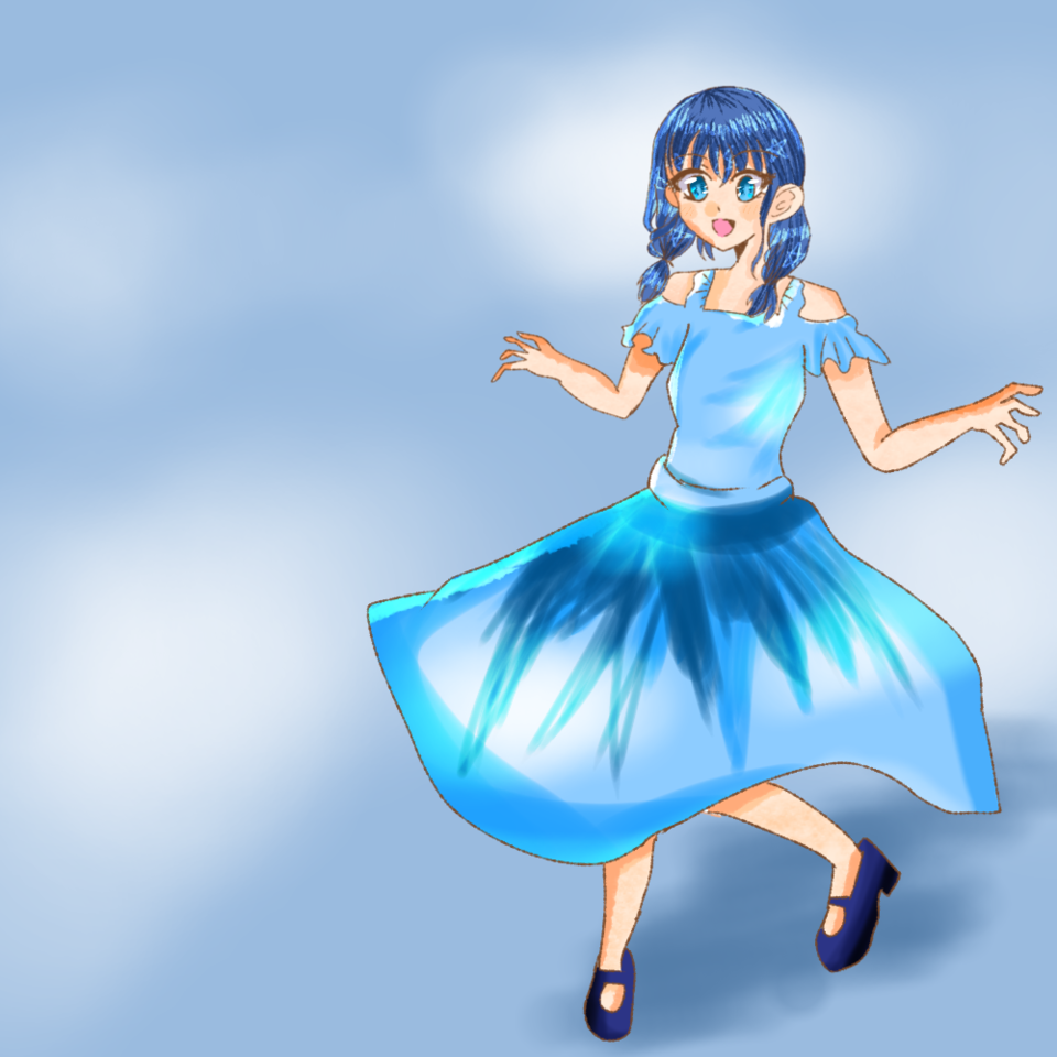 空の擬人化 Illust of にこ☆#小5#宿題多いわァァァァ💢 June2021_Anthropomorphism oc girl アイビスペイント sky にこ☆