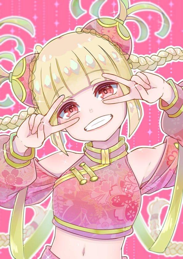チャイナちゃん Illust of はるの介 pink twin_ponytails 絵柄 三つ編み girl 中華