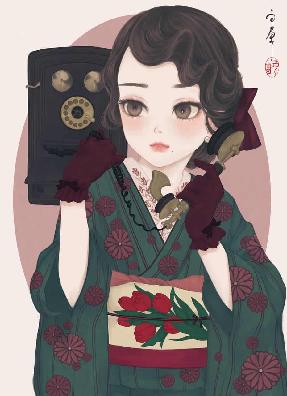 たまには電話デートでも Illust of 丑山雨 girl レトロ 電話 kimono