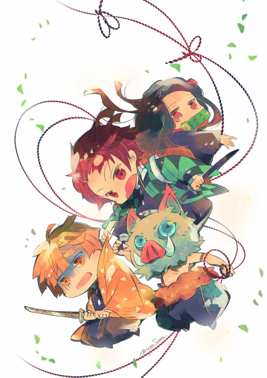 【第3回ジャンプ世界】支え、支えられ Illust of もぐさまる。 DemonSlayerFanartContest AgatsumaZenitsu chibi HashibiraInosuke KamadoNezuko KimetsunoYaiba KamadoTanjirou