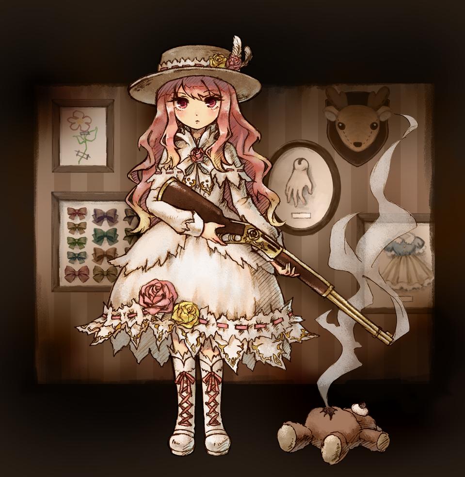 白ロリと猟銃 Illust of Nun original ぬいぐるみ Gun ロリータ girl 標本 oc