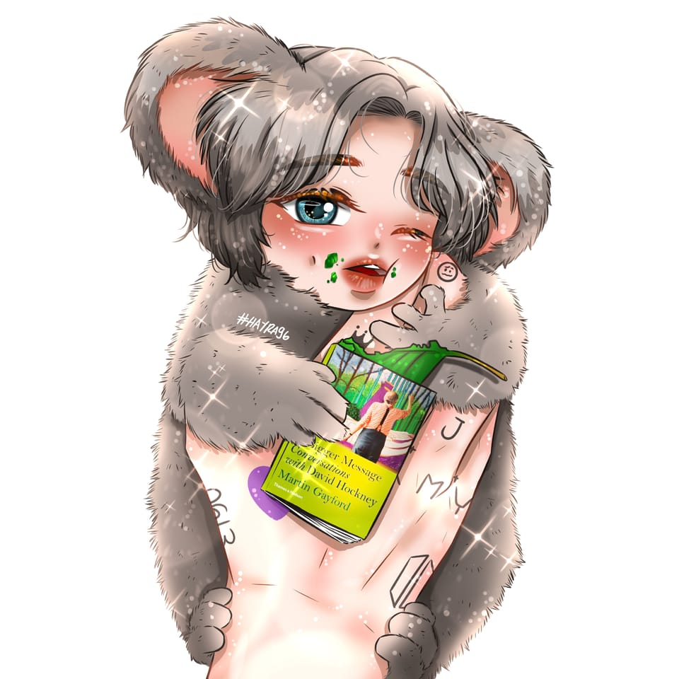 Namjoon as Baby Koala Illust of Hayra96 June2021_Anthropomorphism cute fanart hayra96 BTS medibangpaint art smangartgallery digital