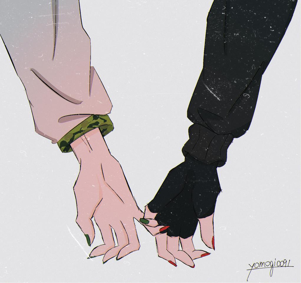 繋 Illust of 109 よもぎ丸 恋人繋ぎ hand よもぎ棒 代理