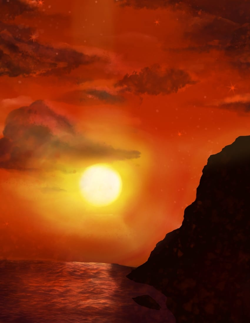 Bloody Sunset Illust of OneLunarKitty background sky water clouds red sunset nature