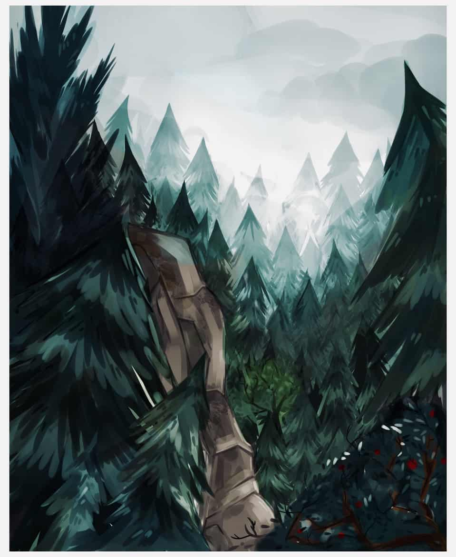 Landscape Test Illust of OverflowingAnxietea scenery digital Cliff MyArt practice overflowinganxietea Trees