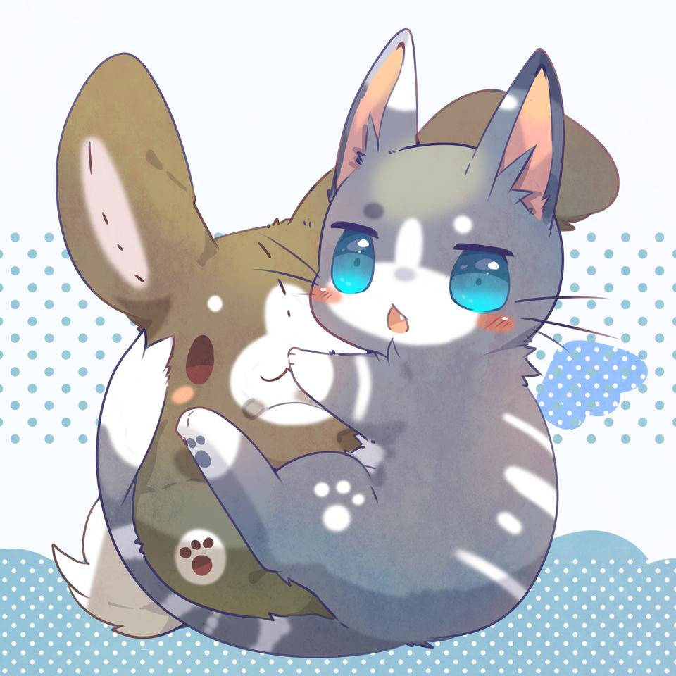 にゃっ! Illust of ushiinu original cat rabbit