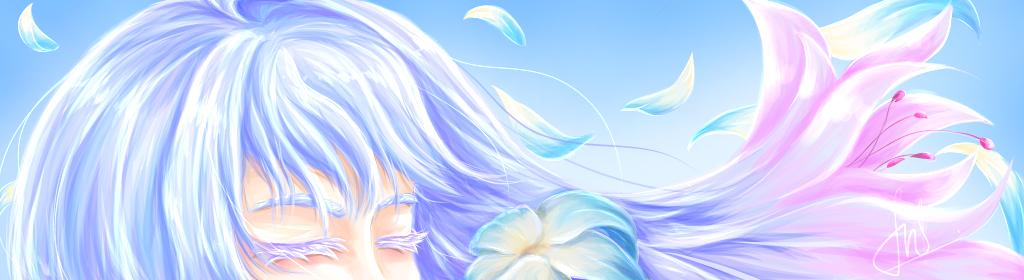 flower Illust of Furuwa ARTstreet_Ranking medibangpaint girl Petals pastel blue flower