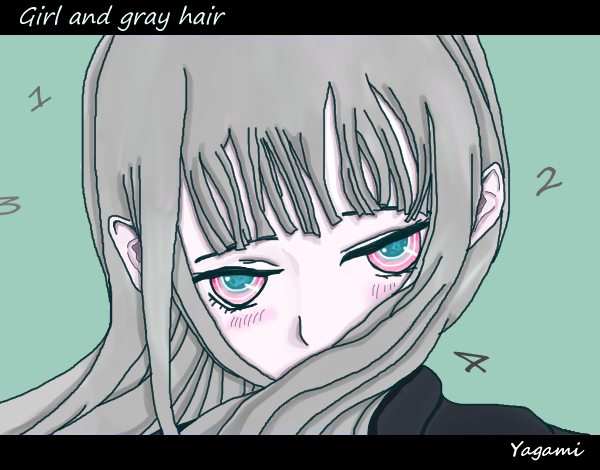Girl and gray hair Illust of 八神 奏 July2020_Contest:Anniversary original girl kawaii oc pink hair black