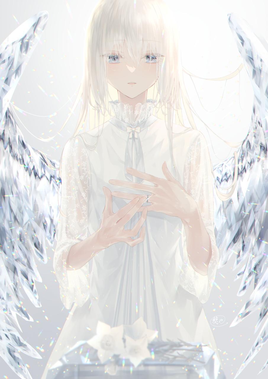 Immortal Illust of 稔也 original angel 羽根 girl
