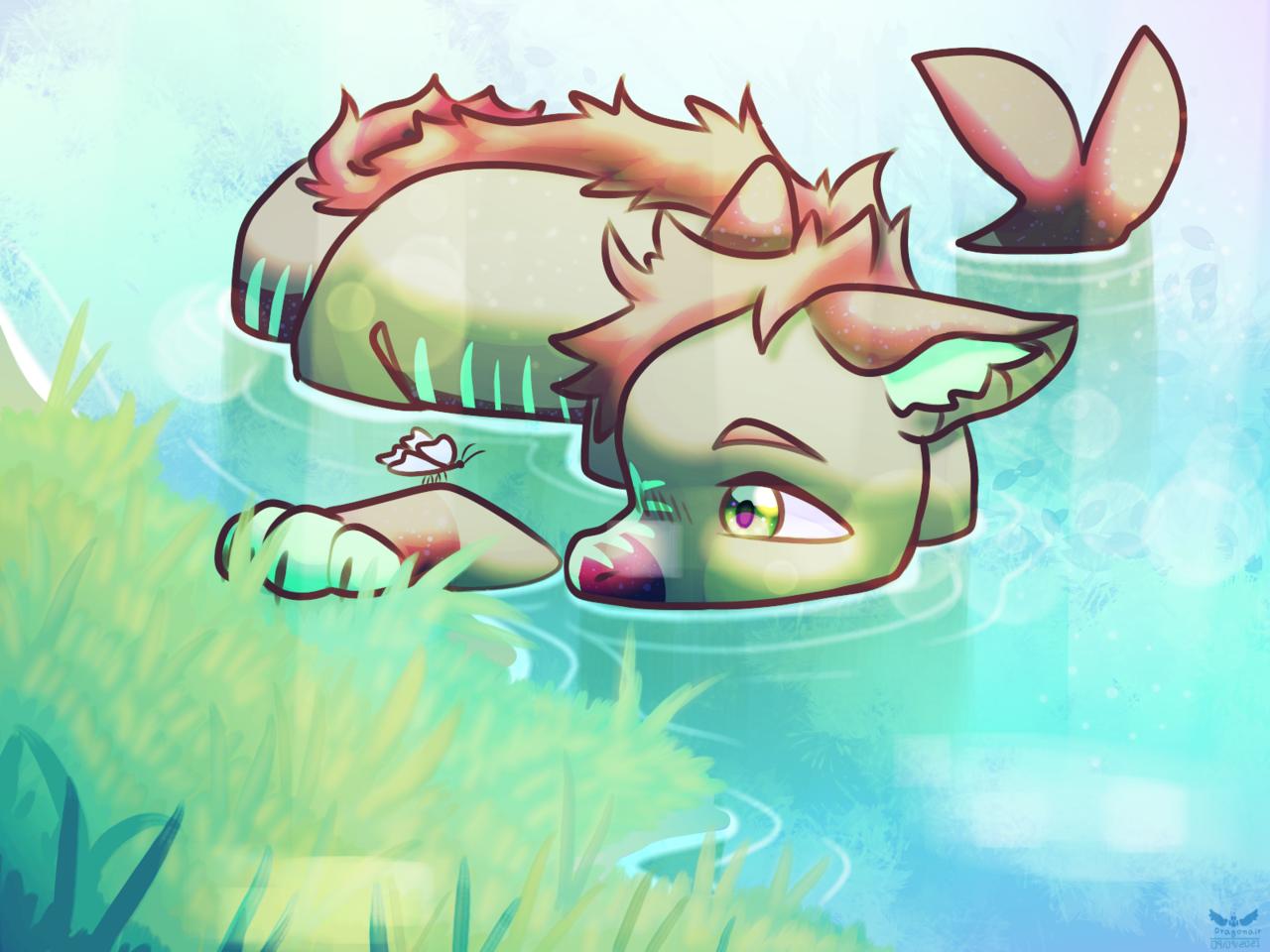 Request for  ɘƨυɒƧɘmoƨɘwA Illust of Kdragonair medibangpaint request furry dragon shark