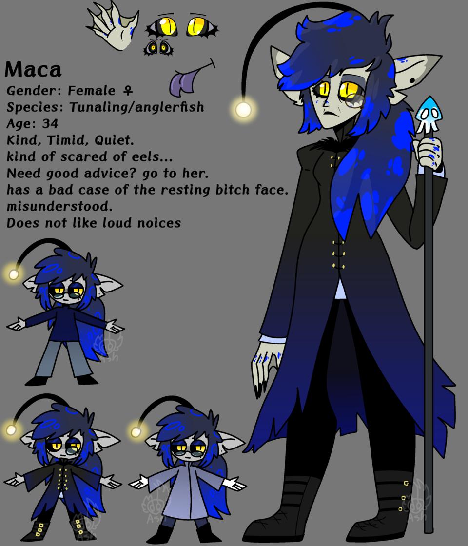 Maca's ref Illust of 🎃𝑎𝑠𝘩🎃 medibangpaint Splatoon 🍂Ash🍂 referencesheet oc anglerfish