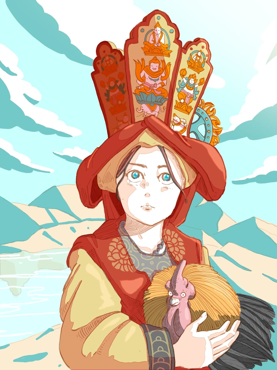 Shaman in southern china  Illust of Wutikai cutegirl Shaman girl lake mountain Chicken sky tribe Clear China