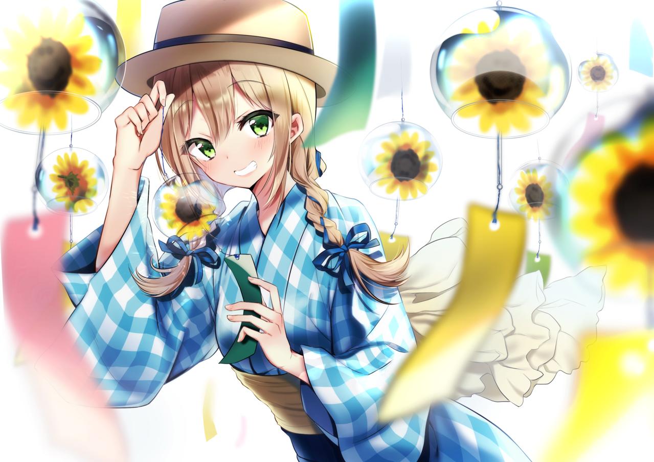 ひまわりと風鈴 Illust of きりきりき original girl oc summer 風鈴