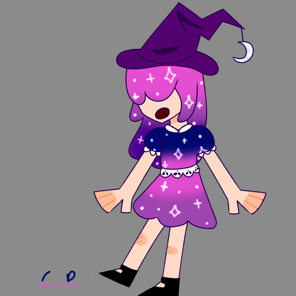 1 out of 2 adopts for pErSon! :) Illust of Creampuffu magic witch sparkle galaxy space purple
