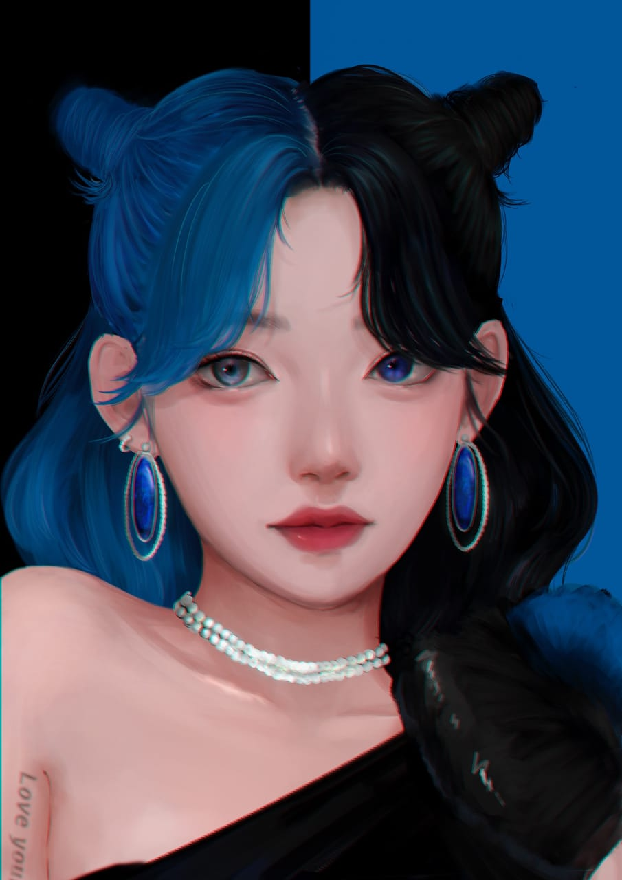 青×黒 Illust of よんちー black girl blue