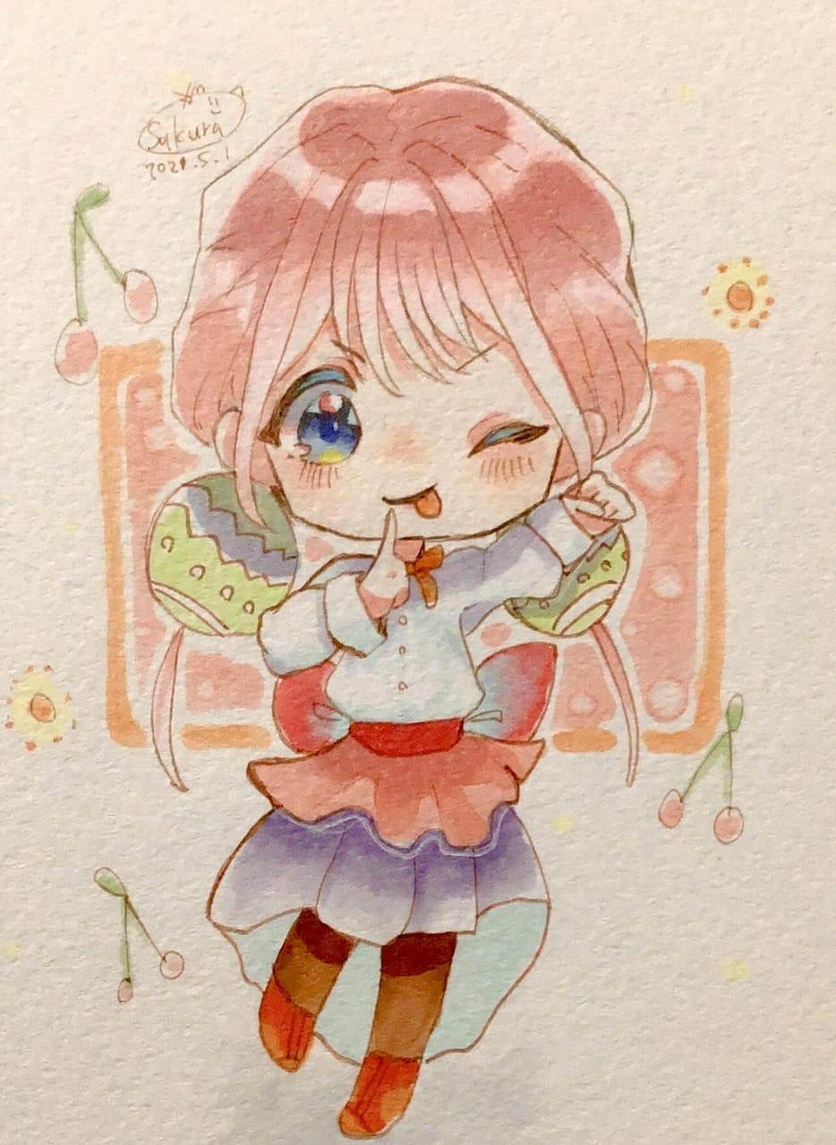 春ううう Illust of 🌸ポェもち@低浮上 春 girl ワンスク cutegirl chibi アナログ 🌸ポェもち* 季節 digital