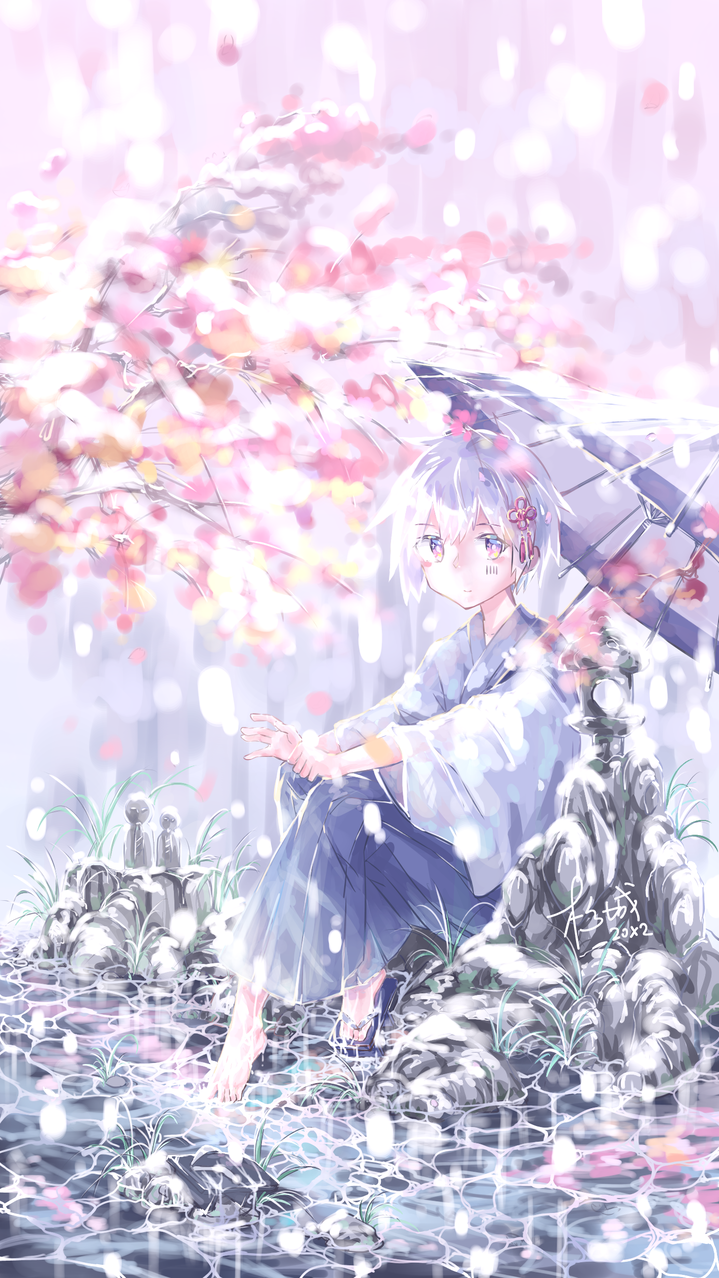 冬春交替之时 Illust of Asashio杉城 snow kimono 樱花 同人 medibangpaint mafumafu